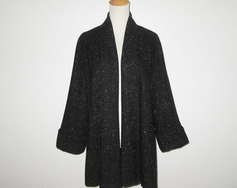 Vintage 1950s Jacket / 50s Black Flecked Swing Jacket / 50s Black Wool Jacket - M, L