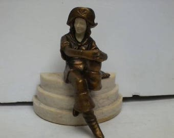 Antique Bronzed Spelter Female Pirate Sculpture Marble Base