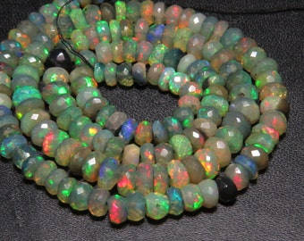 Black Welo Ethiopian Opal - 17 Inches Full strand - Gorgeous High Quality full Color Full Micro Cut Faceted Rondelle Beads size - 5 - 6 mm