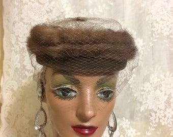 Stunning  Mink Pillbox  Hat with Satin Bow