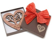 Rooted - Wood Heart Wedding Gift Ornament with Gift Box - Custom Engraved,- Sustainable Harvest Wisconsin Wood