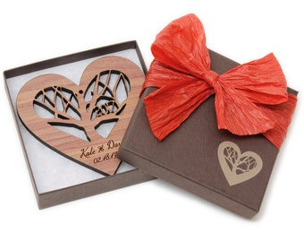 Wood Heart Wedding Gift Ornament with Gift Box - Custom Engraved - Rooted Heart - Sustainable Harvest Wisconsin Wood