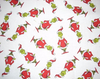 Grinch Christmas  on white cotton Fabric- 15 inches wide by 25 inches long