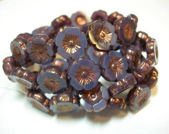 12 beads -Purple Opal with Copper Czech Glass Flower Beads 12mm