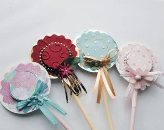 Cupcake toppers/picks Easter ladies hats