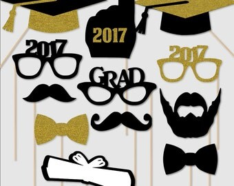 2017 Graduation Photo Booth Portrait Props Party PhotoBooth Glasses Class of 2017 Gold Glitter Black Set of 12 Custom Colors Available