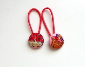 Cupcake Fabric Covered Button Ponytail Holders