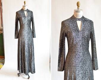 SALE / Vintage 1970s METALLIC acetate maxi dress