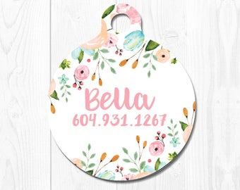 Dog Tags for Dogs Dog Tag Personalized Cat Tag Pet iD Pink Floral Dog ID Tags Pet Tags Pet ID Tag Pet id Tags for Dog Tag ID Custom Dog Tag