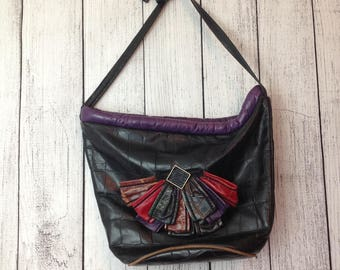 Vintage Leather High Fashion Shoulder Bag Handbag Purse Large EUC