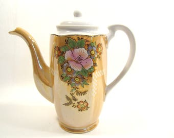 Vintage Small Lustreware Teapot Coffeepot Server Orange Floral  Japan
