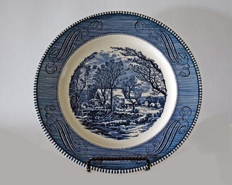 "Vintage Old Grist Mill Currier & Ives Blue Royal USA 10"" Dinner Plate - 5 Perfect Plates Available"