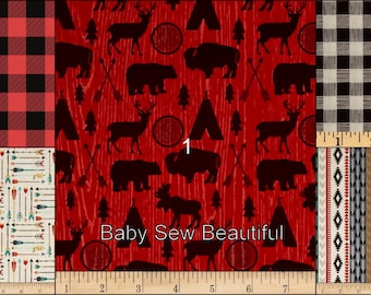 Custom Rustic Buffalo Plaid Crib Bedding Set, Western Crib Bedding, Buck Bedding Set, Crib Bumper Set, Crib Rail Guard Set, Nursery Bedding