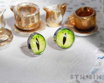 Antique Silver and Green Dragon Eye Stud Earrings, Green Dragon Eye Earrings, Silver Dragon Eye Earrings, Emerald Dragon Eye Earrings