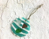 Beach glass ornament aqua and white polymer clay