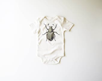 Shimmer Beetle | Organic Baby Bodysuit | Bug | Screen Printed Baby Clothing  | Baby One Piece | Organic Baby Clothes | Baby Tee | Hipster