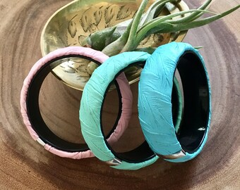 Set of 3 1980s Leather Bangles