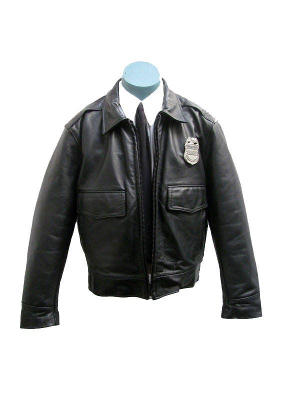 Mens Leather Police Jacket Taylors Leatherwear Los Angeles