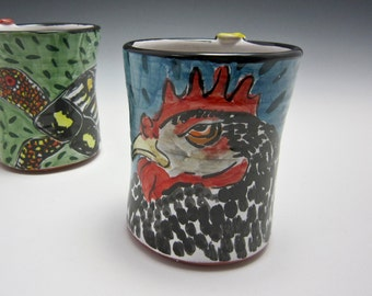 Ceramic Chicken Coffee Mug - Pottery Rooster Mug - Majolica Mug - Black White Blue Red Barred Rock - 12 ounce oz Coffee Mug - Poultry Farm