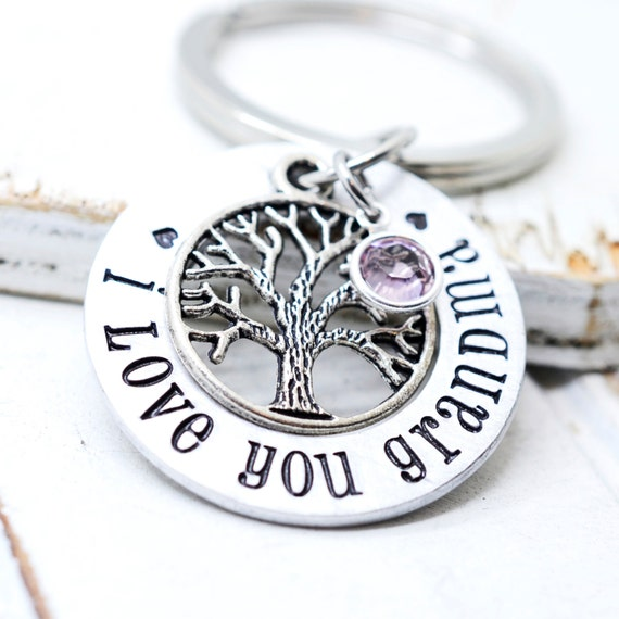 Family Tree Keychain, Gift for Grandma, Mothers Day Gift, Family Keychain, Birthstone Jewelry, Gift for Nana, Grandmother Gift, Grandma Gift