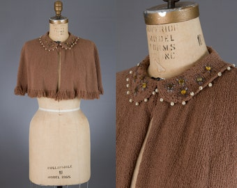 vintage 1940s knit capelet | brown beaded top