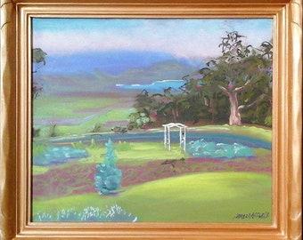 Painting of Kula Maui Haleakala Lavender Farm Zipline Crater Road plein air painting original oil Maui art Upcountry painting North Shore