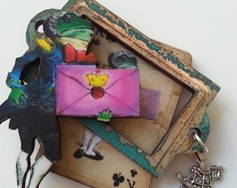 Alice in Wonderland , brooch, frog, servant, butler, messenger, wood, wooden, layered, framed, love heart, by NewellsJewels on etsy