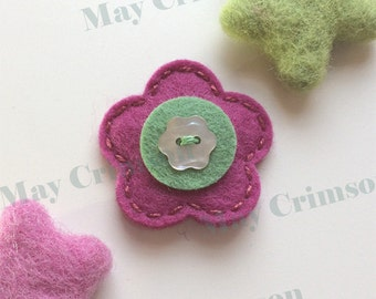 Felt hair clips, Felt flower, Baby girl, Hair accessories, Felt hair bows, School hair clips, Wool felt, Hair barrettes, Button, Girls gift