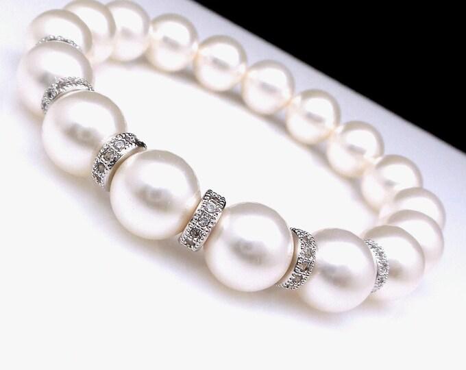 bridal jewelry wedding bridal bracelet 10mm Swarovski white round crystal pearl clear white cubic zirconia rondelle spacer stretch bracelet
