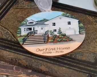Custom Hand Painted Wood Burned House Ornament
