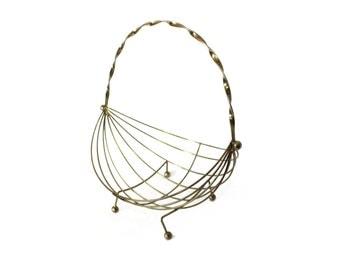 vintage 60's brass basket bowl Eames style decorative home decor 1960's