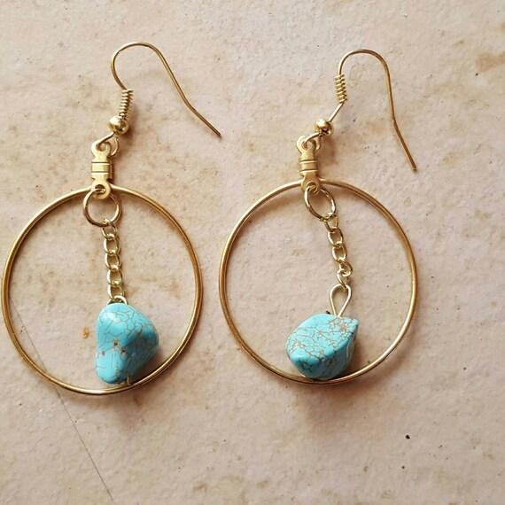 items similar to turquoise earrings gold earrings hoop