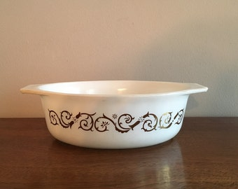 pyrex empire scroll  oval casserole baking dish