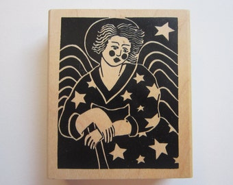 rubber stamp - ANGEL with stars - A Stamp in the Hand