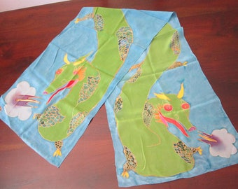 vintage hand painted DRAGON silk scarf - 15 x 56 inches - oblong silk scarf