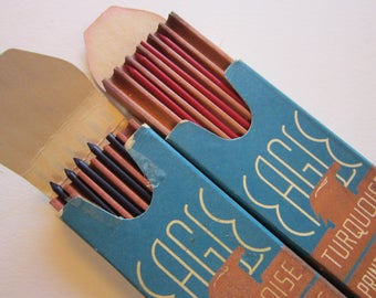 2 boxes TURQUOISE brand vintage print marking leads in wooden trays - red and blue - partial boxes - Eagle Pencil Co