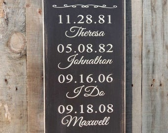 Family Date Sign, Anniversary Date, Birth Date Sign, Engagement date, Important Dates Sign,  Special Dates Sign