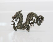 Vintage Sterling Marcasite & Ruby Dragon Brooch Chinese New Year Fashions Oversized Jewelry