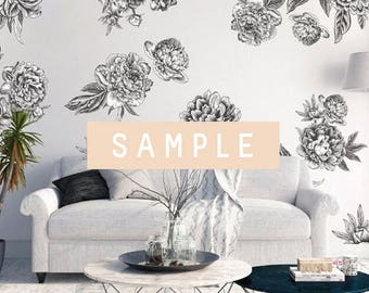 SAMPLE ** Black and White Graphic Flower Decals