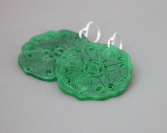 Chinese Carved Green Jade Laced Round Sterling Silver Earrings, Green Jade Earrings, Carved Green Jade Earrings, Jade Jewelry, Jade Earrings