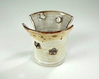 Ceramic sponge holder - pottery sponge keeper - stoneware sponge dish - pottery sponge holder - kitchen sponge holder - white with stars