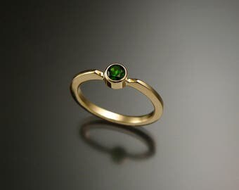 Chrome Diopside Stackable Mothers ring 14k Yellow Gold natural Emerald substitute Made to order in your size