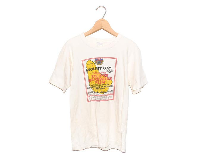 Vintage 70's Mount Gay Refined Barbados Rum White T-shirt - Small (OS-TS-61)