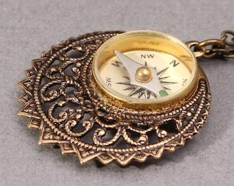 Steampunk Compass Necklace Compass Pendant Steampunk Compass Pendant