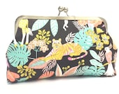 clutch purse - wild- jungle - animal print - tiger - toucan - 8 inch metal frame clutch purse - large purse - kisslock