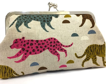 clutch purse - leaping leopards (pink - green) - 8 inch metal frame clutch purse - large purse- leopard- tigers - geometric- natural linen -
