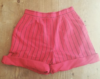 1990s Stripped High Waisted Pleated Red and Black Shorts