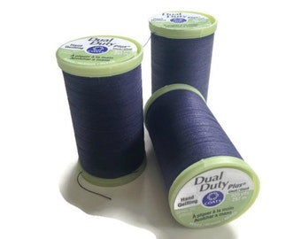 Quilting Thread Coats & Clark 3 Spools 325 Yards Each Navy Color 4900 Dual Duty Hand Quilting Thread