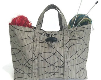 Large Knitting Bag Taupe Black Tote Travel Bag Project Bag Fully Lined Inside Pocket Knitting Organizer Knitting Tote Bag