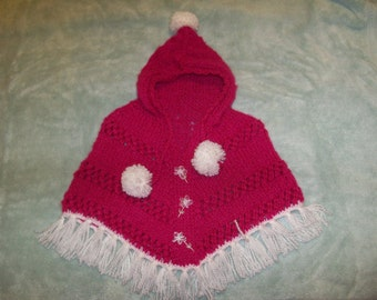 Poncho Hoody in bright pink with white accents and flowers